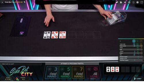 Side bet city 3 card hand
